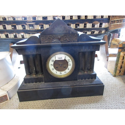 1445 - 19th Century black slate and gilt metal mounted mantel clock, the architectural case with enamel dia...