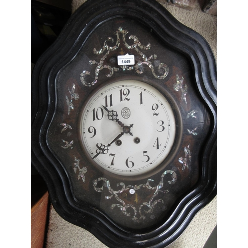 1449 - 19th Century French ebonised mother of pearl inlaid vineyard clock, the shaped case enclosing a pain...
