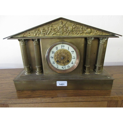 1451 - 19th Century French gilt brass cased mantel clock of neo classical design with a relief frieze above...