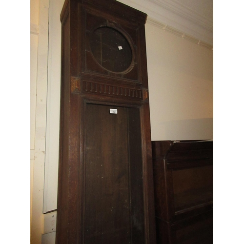 1452 - Early 20th Century Continental oak longcase clock case only, together with a similar wall clock case...