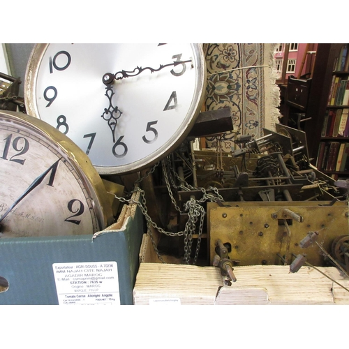 1453 - Collection of approximately twenty five early 20th Century longcase clock movements, some with dials...