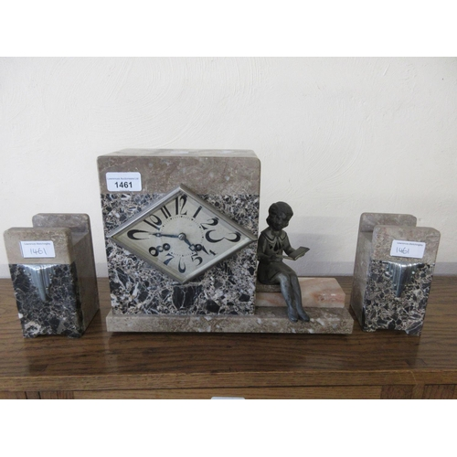 1461 - Art Deco beige and grey flecked marble mantle clock of rectangular form, gold painted spelter figure...