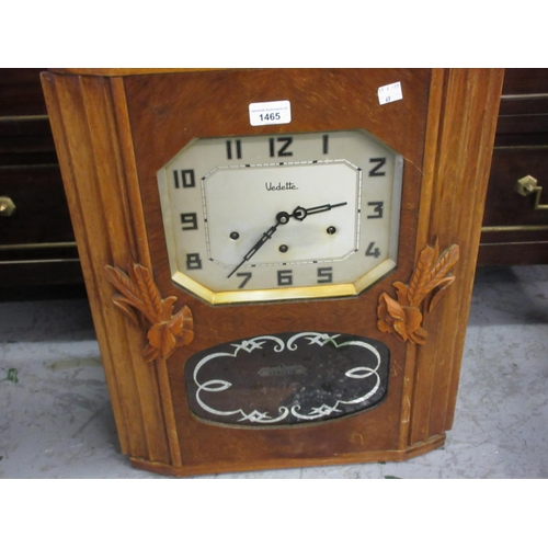 1465 - Art eco walnut cased rectangular wall clock with silvered dial Arabic numerals signed ' Vedette ', w...