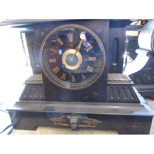 1467 - Large 19th Century black slate mantel clock, the black dial with gilt Roman numerals the case  with ...