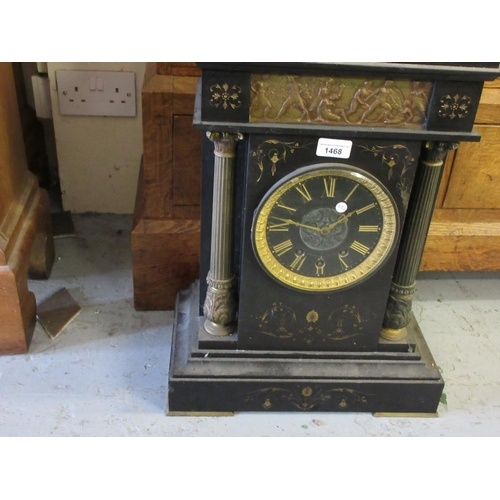 1468 - Large 19th Century black slate and gilt metal mounted mantel clock, the rectangular case with classi...