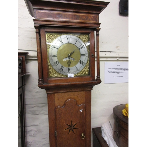 1472 - 18th Century oak longcase clock, the square hood with flanking pilasters above a star inlaid shaped ...