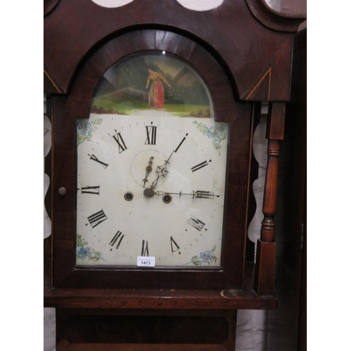 1473 - 19th Century mahogany and oak longcase clock, the broken arch hood with swan neck pediment and flank...