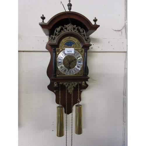 1475 - Reproduction Dutch two train wall clock...