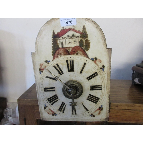 1476 - 19th Century Continental wooden cased wall clock having two train weight driven movement with painte...