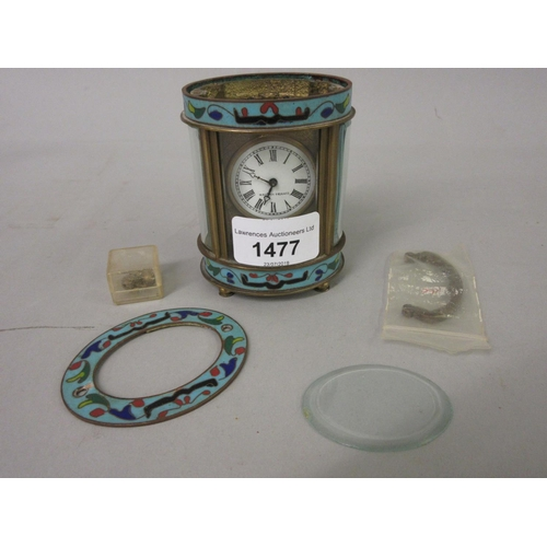 1477 - Small French brass cased and champleve enamel carriage clock having brass and enamel dial with Roman...