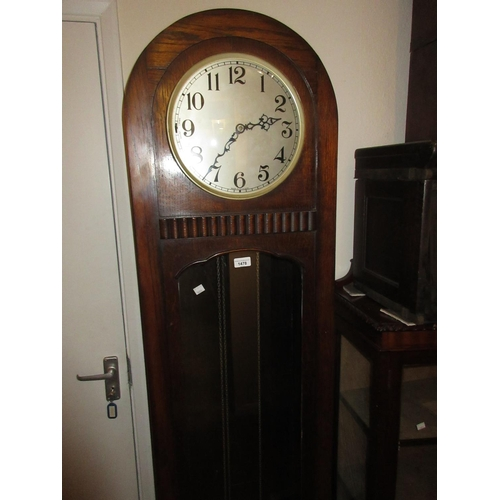 1478 - 1920's Oak longcase clock, the circular silvered dial with Arabic numerals with a three train weight...