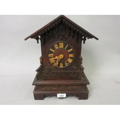1480 - 19th Century Swiss cuckoo mantel clock, the two train movement striking on a gong (minus pendulum)...
