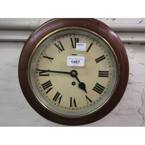 1487 - Small circular mahogany wall clock, the 8in dial with Roman numerals and single train spring driven ...