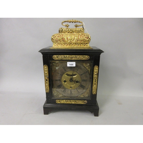 1488 - Ebonised and ebony veneered table or bracket clock, the gilt brass dial with silvered chapter ring, ...