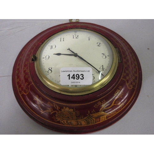 1493 - Circular red chinoiserie lacquer cased Sedan clock, the painted dial with Arabic numerals, with sing...