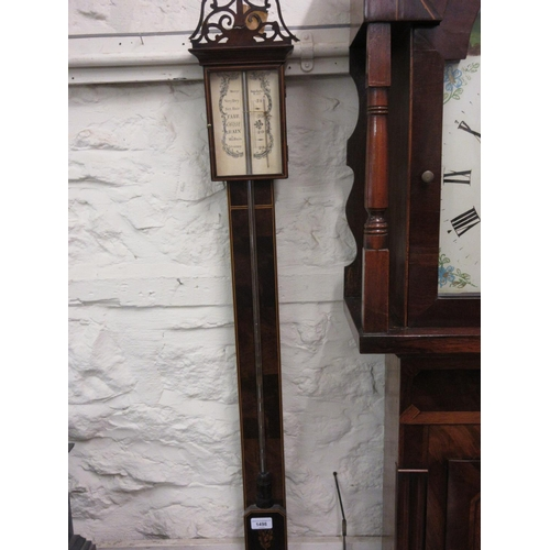 1498 - Reproduction mahogany and inlaid stick barometer together with a carved oak aneroid barometer thermo...