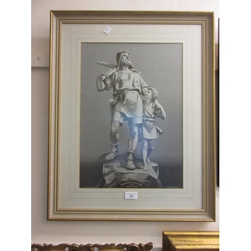 15 - Pair of gilt framed pictures on silk inscribed Maschinenfabrik Ruti, 18ins x 12ins each...