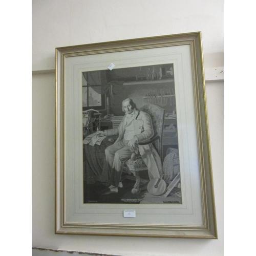 15 - Pair of gilt framed pictures on silk inscribed Maschinenfabrik Ruti, 18ins x 12ins each...