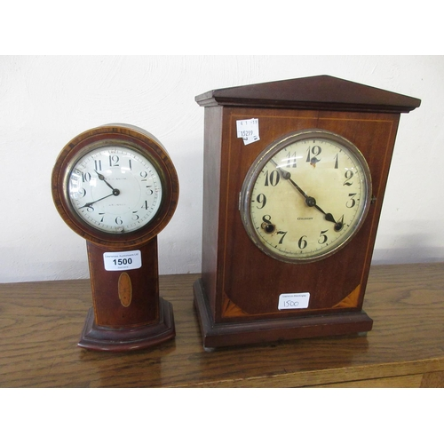 1500 - Small Edwardian mahogany crossbanded and inlaid drum form pedestal mantel clock (at fault) together ...