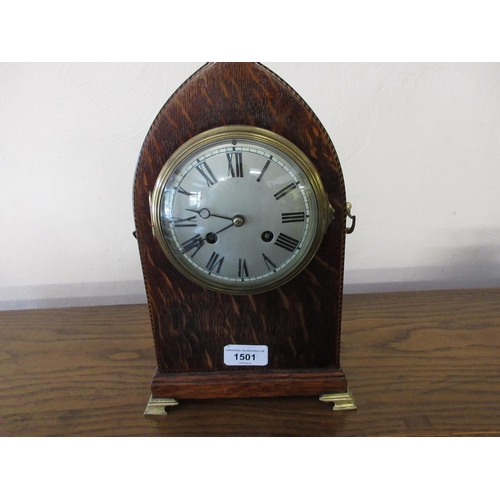 1501 - Edwardian oak and chequer inlaid lancet shaped mantel clock with a silvered dial, Roman numerals and...