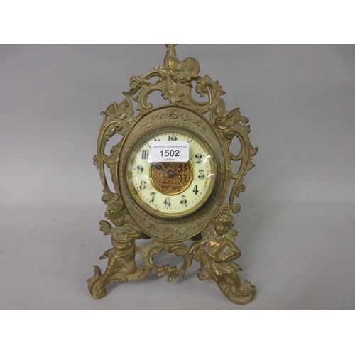 1502 - 19th Century brass easel clock with enamel dial (at fault)...