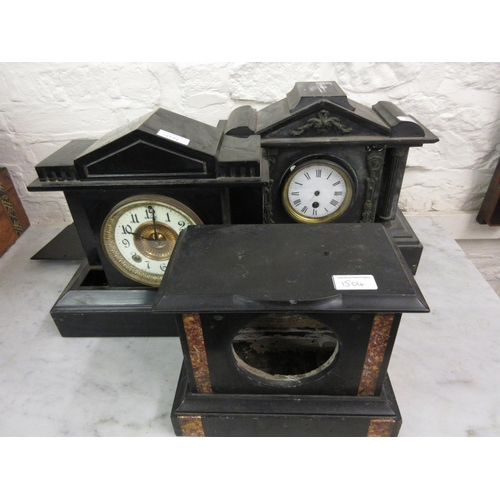 1504 - Two 19th Century black slate mantel clocks (at fault), together with a similar metal cased mantel cl...