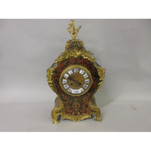 1505 - Late 19th or early 20th Century buhl red stained tortoiseshell and cut brass two train mantel clock...