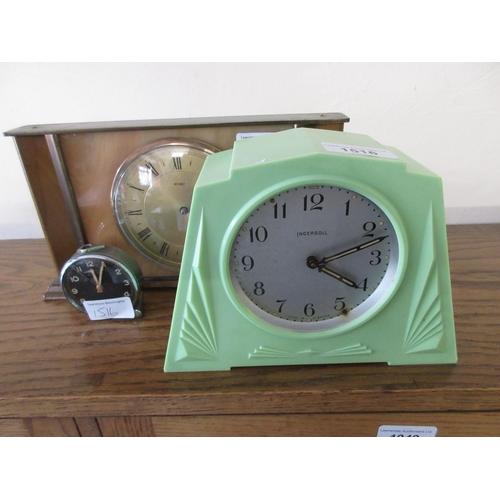 1516 - Green bakelite cased clock by Ingersoll, Cyma alarm clock (at fault) and a 1950's clock...