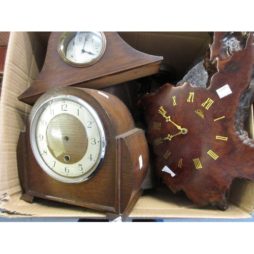 1517 - Box containing a quantity of various dome top mantel clocks, movements etc...