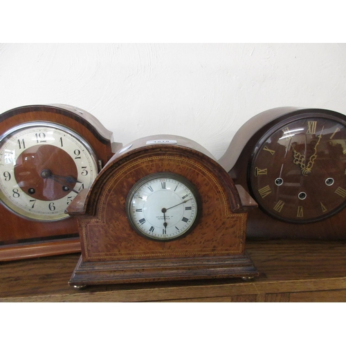 1518 - Three various 20th Century dome top mantel clocks, one with three train Westminster striking movemen...