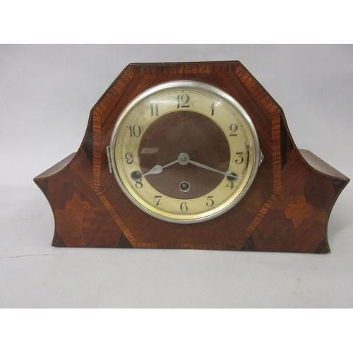 Art Deco Walnut And Inlaid Three Train Mantel Clock A Reproduction Aneroid Barometer
