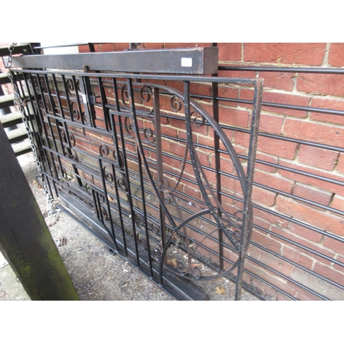 1534 - Modern black painted iron garden gate in Art Deco style, 66ins high, 38ins wide...