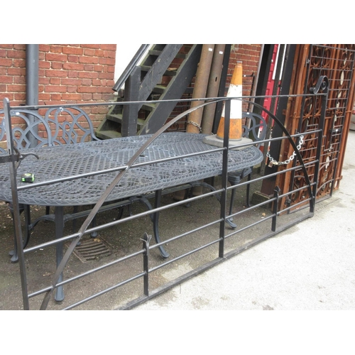 1535 - Modern good quality wrought iron heavy double gate with scroll work decoration, 51ins high x 121ins ...