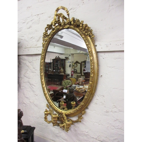1545 - 19th Century oval gilt moulded plaster girandole three branch wall mirror...