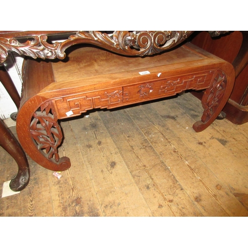 1549 - 20th Century Chinese hardwood coffee table with pierced scroll ends, a brass inlaid octagonal table ...