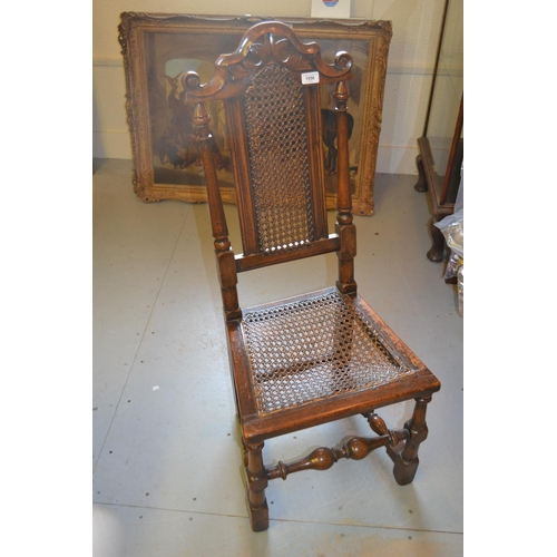 1556 - 17th Century walnut and elm side chair with cane back and seat...