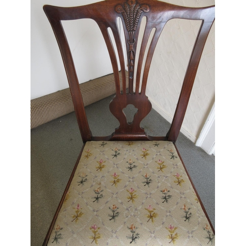 1557 - Pair of Victorian walnut balloon back side chairs with carved centre rails, two mahogany chairs, a s...