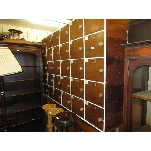 1558 - Mid 20th Century painted and stained wooden thirty door school locker with brass name plate holders ...
