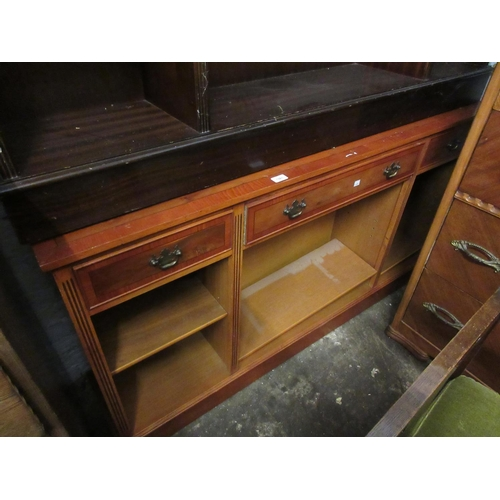 1561 - Reproduction yew wood open bookcase with three drawers above adjustable shelves...