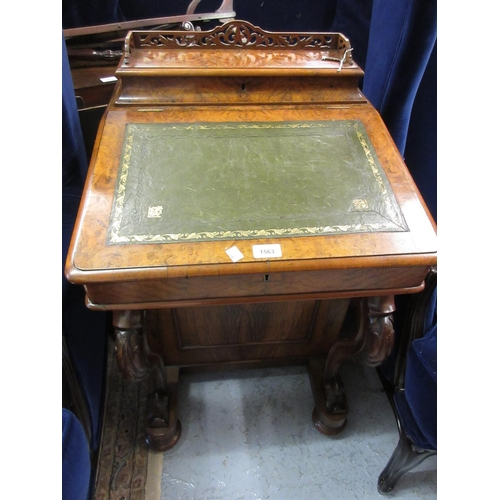1563 - Victorian figured walnut Davenport with a galleried stationery compartment above a gold tooled leath...