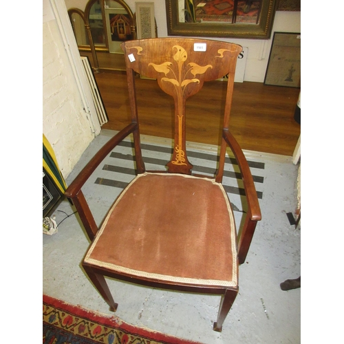 1565 - Edwardian rosewood and mahogany open armchair of Art Nouveau design, the marquetry inlaid back with ...