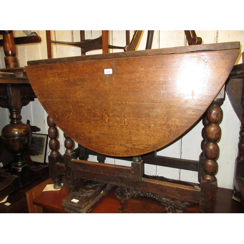 1566 - 18th Century oak oval gate leg table with twin end drawers raised on bobbin turned supports with str...
