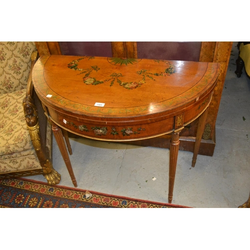 1569 - 19th Century satinwood and parcel gilt demi lune card table in George III style, the top and frieze ...