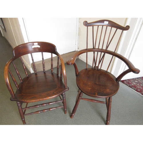1573 - Early 20th Century elm and beechwood elbow chair with circular panel seat together with a smokers bo...