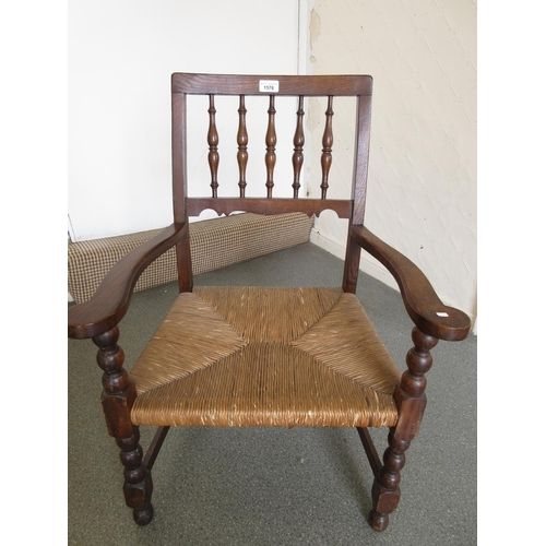 1576 - Oak spindle back armchair with rush seat and a Victorian walnut and parquetry inlaid box...
