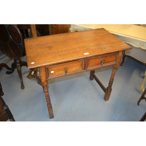 1580 - Early 20th Century oak two drawer side table together with a pair of Victorian bedroom chairs with s...
