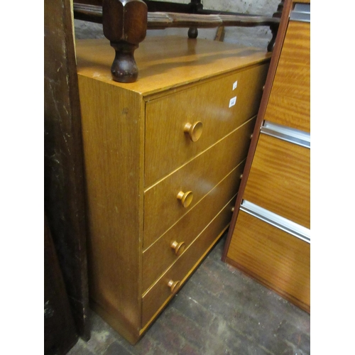 1582 - Mid 20th Century teak four drawer bedroom chest on a plinth base...