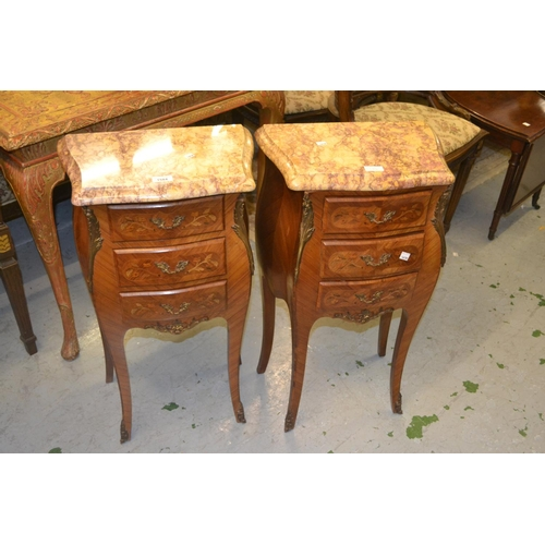 1584 - Pair of French kingwood floral marquetry inlaid three drawer bedside cabinets with rouge marble tops...