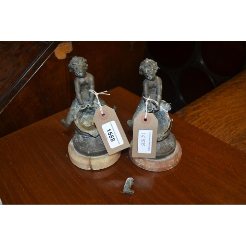 1588 - Pair of 19th Century patinated spelter figures of cherubs, seated on pails (at fault)...