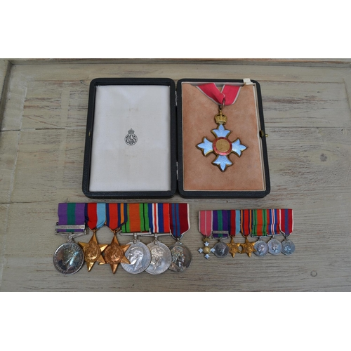 159 - World War II medal group of seven medals awarded to Captain J.M.F. Cartwright.RA, including a Palest...